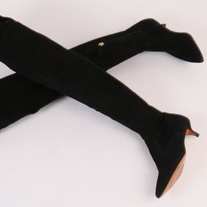 TORY BURCH Black Suede Over the Knee High Boots